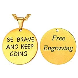 Customize Engravable Round disc Pendent Necklace For Men Women 18K Gold Plated