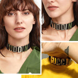 Personalized Charm Letter Choker Collar Necklace In Genuine Leather