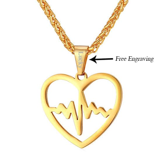 Engravable EKG Lifeline Pulse Heartbeat Charm Open Heart Pendant Necklace