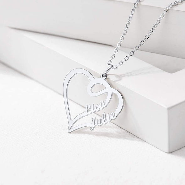 Personalized Heart Couple Name Neckalce 925 Sterling Silver Nameplate
