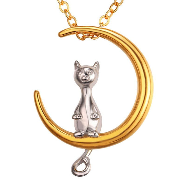 Two-Tone Quirky Moon Cat Pendant Necklace Animal Jewelry Design for Women