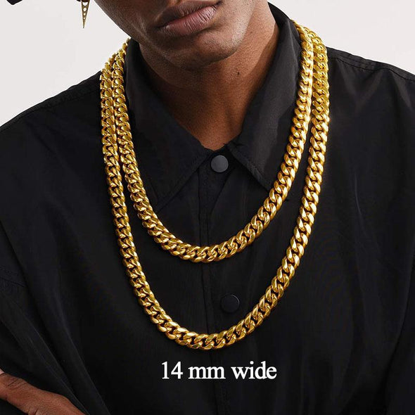 6mm/10mm/14mm Wide Hip Hop Chunky Miami Cuban Link Chain Necklace For Men