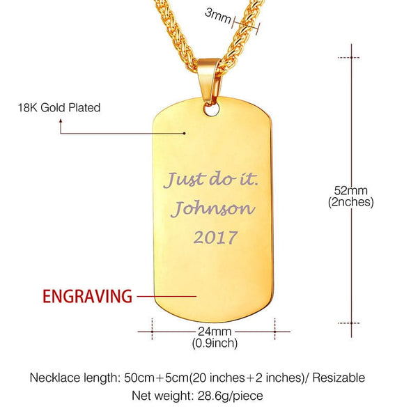 Personalized Dog Tag Necklace With Chain Customized Military Gift for Him Jewelry