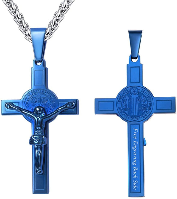 Engraving Crucifix Cross Pendant Necklace Custom Jewelry for Christian
