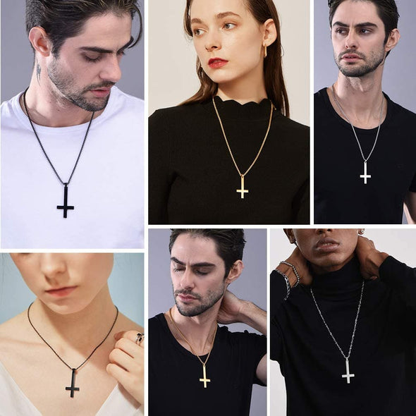 Personalized Simple Inverted Cross Pendant Necklace Engravable Jewelry