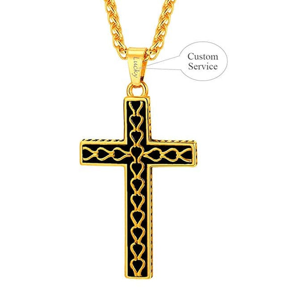 Vintage Cross Pendant Necklace Stainless Steel Heart Link Pattern Christian Jewelry For Men