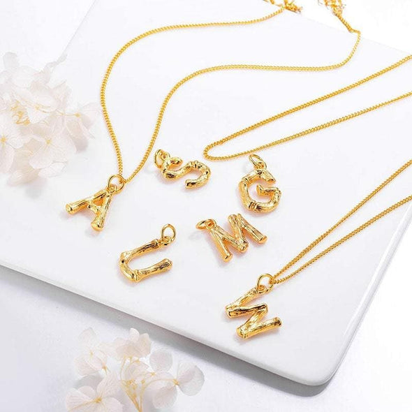 Celebrity Style Gold Plated Small Bamboo Initial Letter Choker Necklace For Women