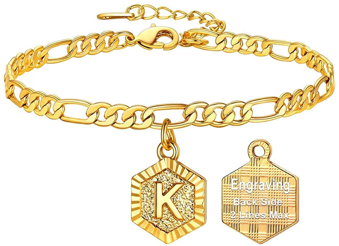 High finish custom 18k gold plated personalized engraving hexagon alphabet A-Z initial figaro chain anklet barefoot bracelet for women teen girls