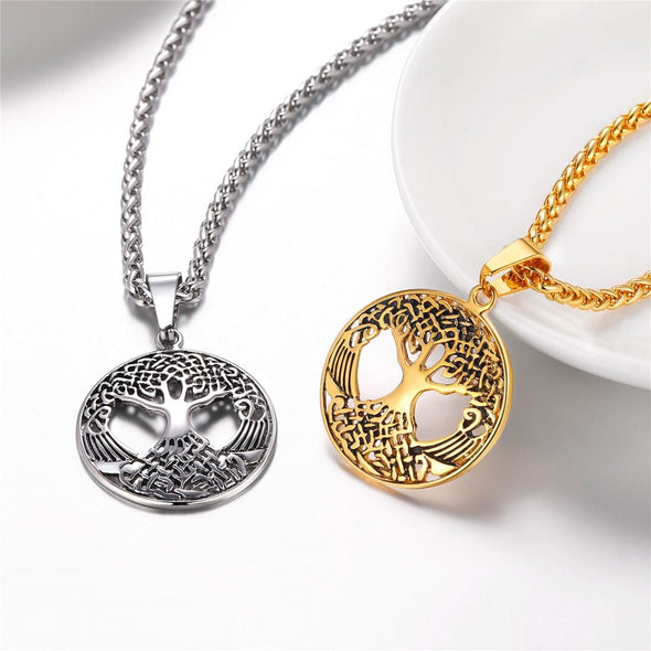 Engravable Hollow Tree of Life Pendant Necklace Custom Lucky Jewelry