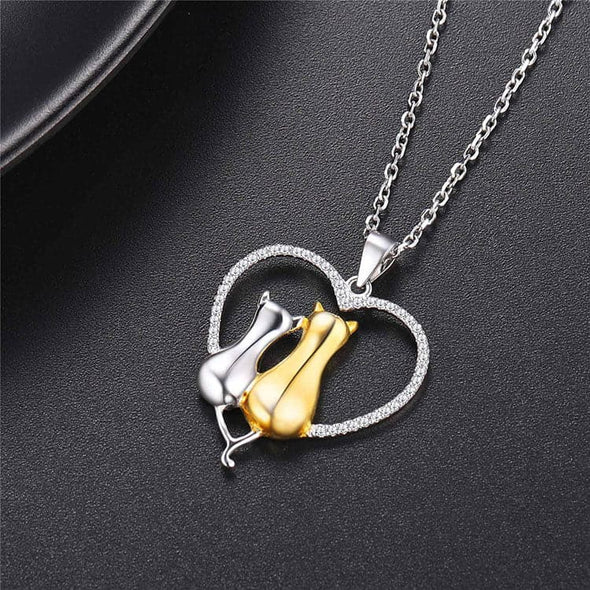 Two Tone 925 Sterling Silver Love Heart Couple Cat Necklace for Lover