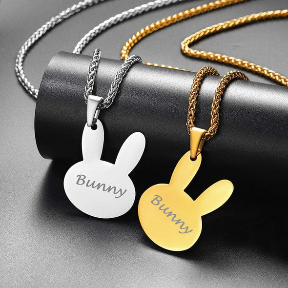 Cute Rabbit Necklace Custom Name Pendant Personalized Animal Jewelry