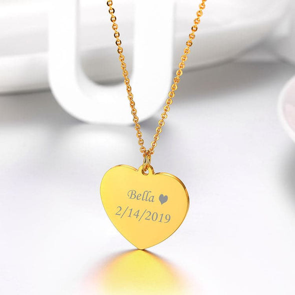 Heart Charm Necklace Custom Engraving Text Pendant Personalized Jewelry