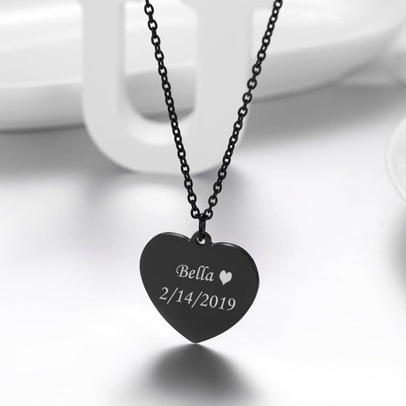 Customized Heart Necklace Free Engraved 18K Gold Plated Jewelry Gift For Women