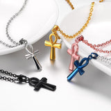 Gold Paved Egyptian Ankh Charm Necklace Cross Necklace Pendants Unisex Jewelry