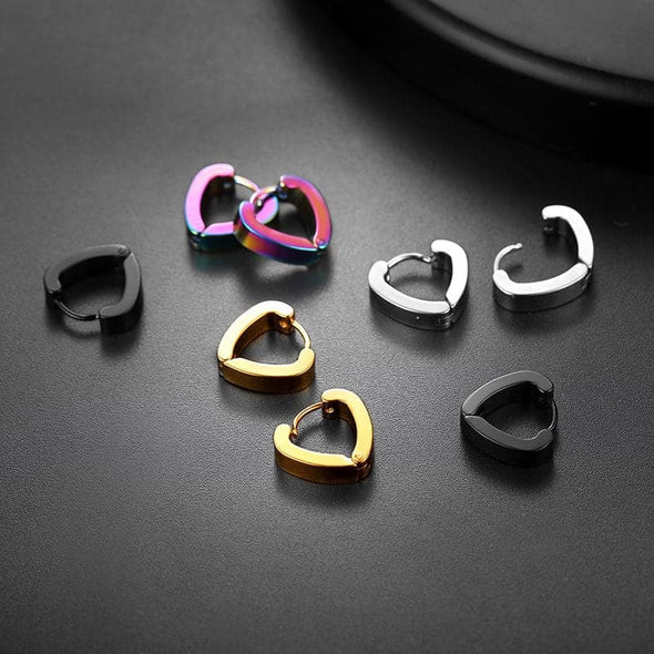 Small Heart Hoop Ear Clip Non Piercing Earrings Ear Cuff Magnetic Cartilage Earrings Four Pair a Set For Men And Women
