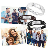 Custom Personalized Engraving Braided Leather Rope Bar Cuff Bracelet for Men and Women