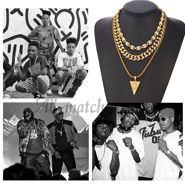 Gold chain for men and women hiphop punk 18k gold plated white AAA+ cubic zirconia inlaid coffee bead anchor mariner chain necklace chunky choker