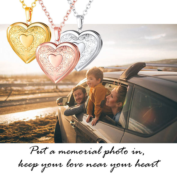 Engraved Heart Locket With Photo Personalized Necklace For Women