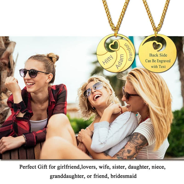 Custom Personalized Engraved Name Family Round Disk Necklace For Men And Women