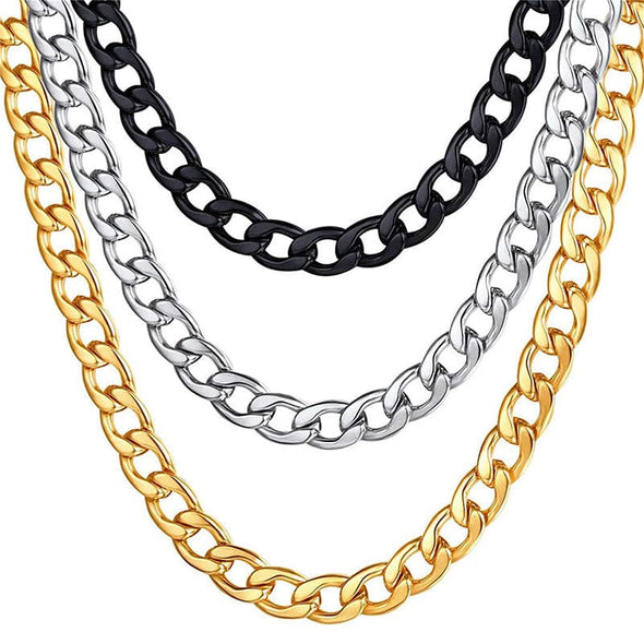 Hip Hop Curb Chain 5MM/9MM/12MM/15MM Stainless Steel Jewelry For Men