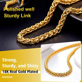 5MM Basic Essential 18K Gold Plated Wheat Spiga Chain for Pendant