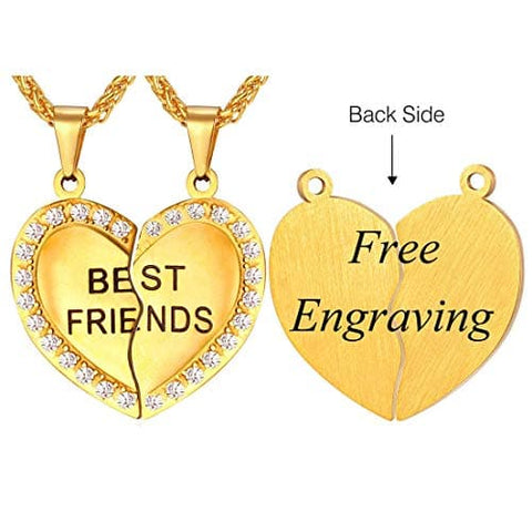 Friendship Jewelry Forever Best Friend Heart Pendant Gold Plated Stainless Couple Necklace