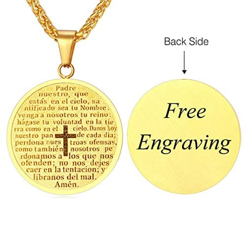 Customize Engraved Lords Prayer Cross Medal Necklace Spanish Enscription For Men Women