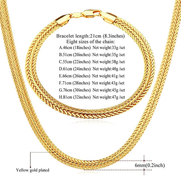 Gold chain for men women fashion 6mm wide 18K gold/rose gold/platinum/black plated foxtail/mesh chain necklace bracelet set