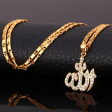 Gold Plated Islamic Allah Pendant Necklace Cubic Zirconia Necklace