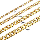 5MM/9MM/12MM/15MM Stainless Steel Hip Hop Chunky Cuban Chain Bracelet