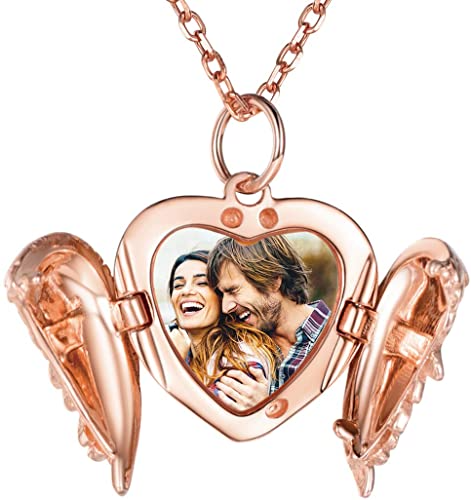 Personalized Angel Wing Engravable Heart Photo Locket Necklace 925 Sterling Silver