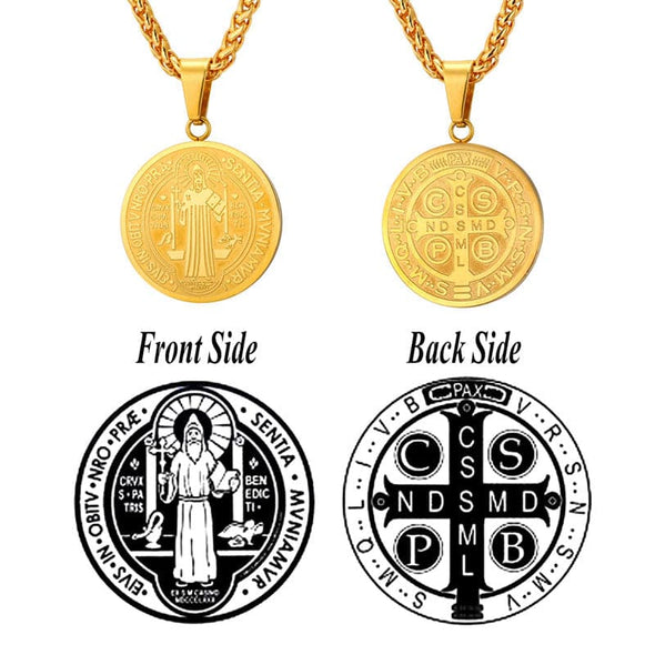 Vintage unisex custom engraving Christian 316L stainless steel 18K gold/black plated lonplating blue Saint Benedict round/oval medal pendant rope chain necklace