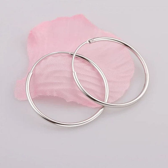 Handmade 1.5mm Wide 18K Gold Plated 925 Sterling Silver 15mm/30mm/40mm/50mm/70mm Thin Hoop Earrings For Women and Girls