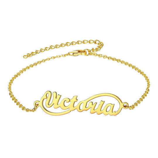 Fashion custom 18k gold/platinum plated personalized engravable infinity name charm anklet barefoot bracelet for women girls