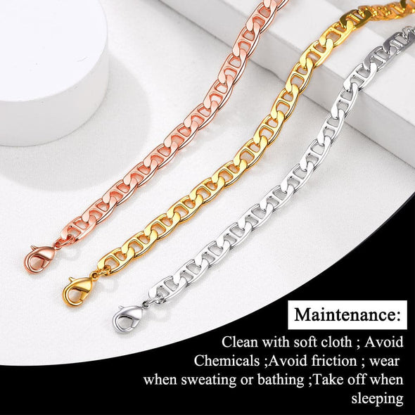 Classic summer beach barefoot jewelry 18k gold/rose gold/platinum plated diamond cut flat mariner link foot chain bracelet anklet for women girls, fit almost all ankle size foot