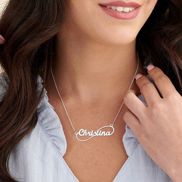 Personalized Minimalist Infinity Name Necklace 18K Gold Plated