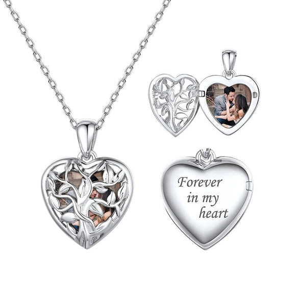 Family Tree Personalized Heart Photo Locket 925 Sterling Silver