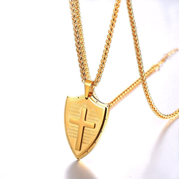 18K Gold Plated Shield Cross Necklace Christian Religious Jewelry