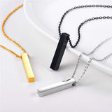 Engravable Cuboid Bar Necklace Customized Name Square Stick Jewelry