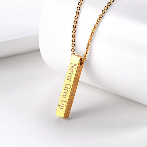 Engravable Cuboid Bar Pendant Necklace Customized Name Square Stick Jewelry For Men & Women