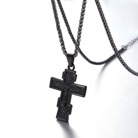 Custom INRI Crucifix Cross Necklace Orthodox Church Jesus Jewelry