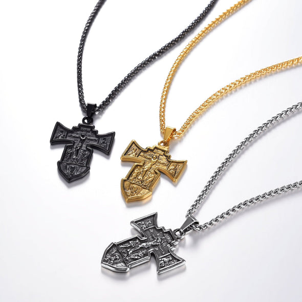 Classic Engravable INRI Crucifix Cross Necklace Jesus Jewerly For Men