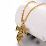 Crucifix Cross Necklace 18K Gold Plate INRI Crocifisso Jewerly For Men