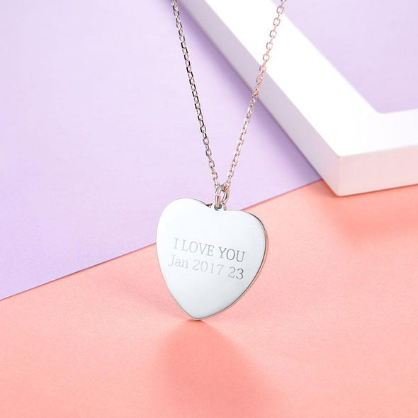 Heart Personalized Engravable Photo Locket Necklace 925 Sterling Silver With Gift Box