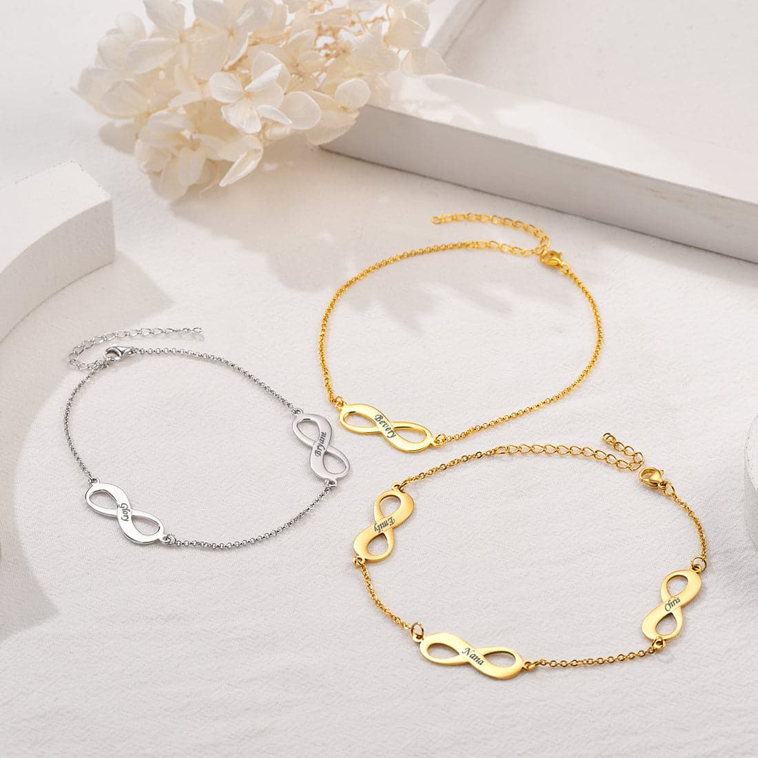 Dainty customized 316L stainless steel 18k gold plated personalized engravable infinity symbol name charm anklet bracelet for women girls