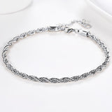 3mm Wide Platinum/18k Gold Plated Twisted Rope Chain Ankle Bracelet Foot Jewelry For Women