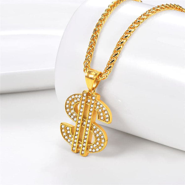Iced Out US Dollar Sign Necklace Rhinestone Pendant Hiphop Jewelry