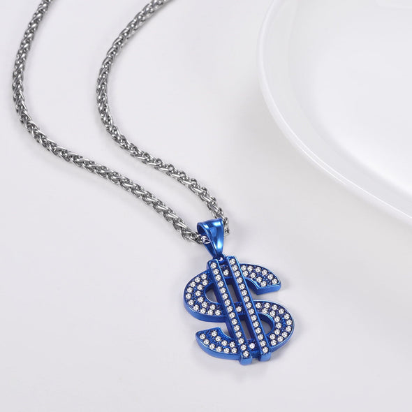 Bling US Dollar Sign Necklace Rhinestone Coin Pendant Hip Hop Jewelry