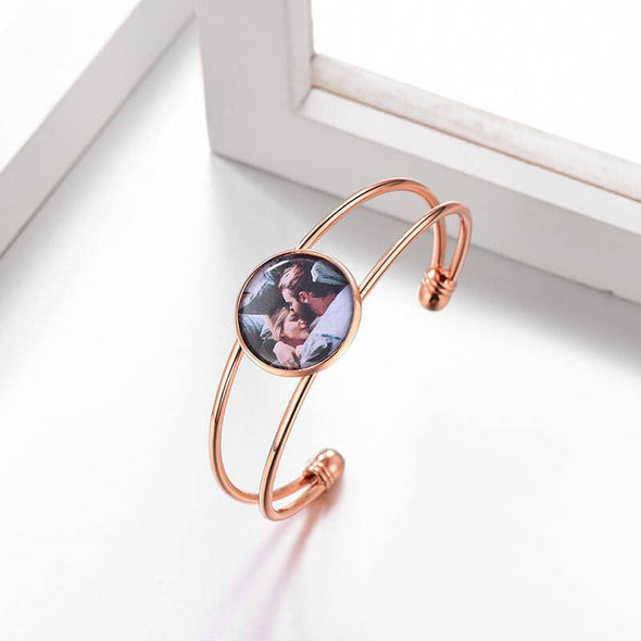Personalized Custom Round Colored Photo Charm Bangle Bracelet Open Cuff For Women