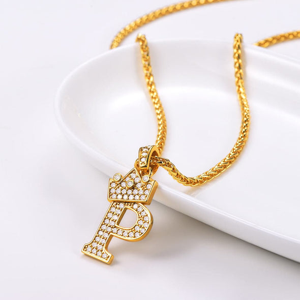 Bling Stone Stud Crown Initial Pendent Letter A-Z Men Women Jewelry